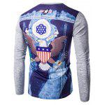 Round Neck 3D Eagle Flag Printing Long Sleeves T-Shirt For Men - GRAY