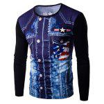 Round Neck 3D Eagle Flag Printing Long Sleeves T-Shirt For Men - BLACK