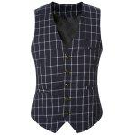 Buckle Back Plaid Single Breasted Vest For Men - CADETBLUE