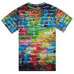 cheap Colorful Brick Wall Print Round Neck Short Sleeve Tee For Men