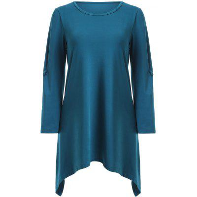 Stylish Scoop Neck Ruched 3/4 Sleeve Irregular T-Shirt For Women