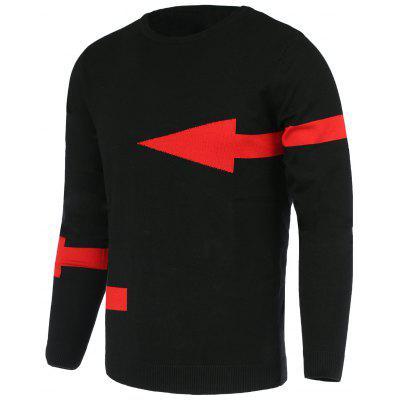 Solid Color Arrows Pattern Slimming Round Neck Long Sleeves Sweater For Men