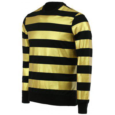 Fashion Round Neck Color Block Stripes Pattern Slimming Long Sleeves Sweatshirt For Men