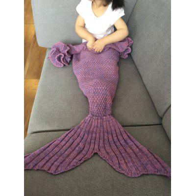 Buy LIGHT PURPLE Falbala Shape Mermaid Tail Design Knitted Baby Blankets for $18.56 in GearBest store