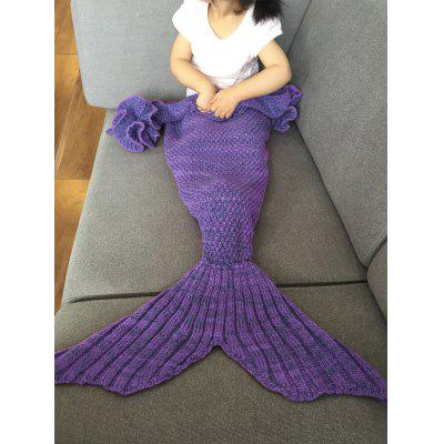 Buy PURPLE Falbala Shape Mermaid Tail Design Knitted Baby Blankets for $18.56 in GearBest store