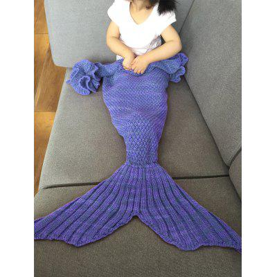 Buy BLUISH VIOLET Falbala Shape Mermaid Tail Design Knitted Baby Blankets for $9.60 in GearBest store