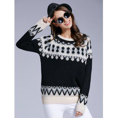 Long Sleeve Round Neck Patterned Sweater