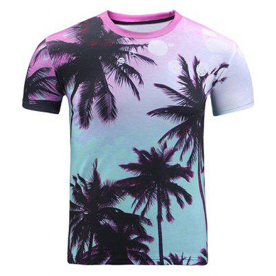 Buy COLORMIX 3D Ombre Trees Print Round Neck Short Sleeve T-Shirt For Men for $13.99 in GearBest store
