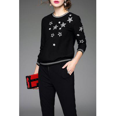 Star Embroidered Pullover Sweatshirt