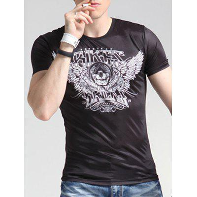 Wings Print Round Neck Short Sleeve T-Shirt For Men