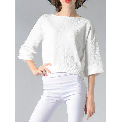 Simple Cuffed Sleeve Solid Color Women's Knitwear