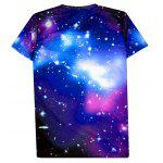 Starry 3D Print Round Neck Short Sleeve T-Shirt For Men - PURPLE