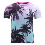 3D Ombre Trees Print Round Neck Short Sleeve T-Shirt For Men - COLORMIX