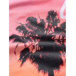 3D Ombre Trees and Letters Print Round Neck Short Sleeve T-Shirt For Men - RED