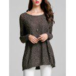 Scoop Neck Long Sleeve Women's Thin Sweater - DEEP GRAY