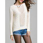 Long Sleeve Hollow Out Solid Color Sweater - WHITE