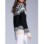 Long Sleeve Round Neck Patterned Sweater - BLACK