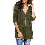 Cold Shoulder Asymmetrical Low Cut V Neck Tee - ARMY GREEN