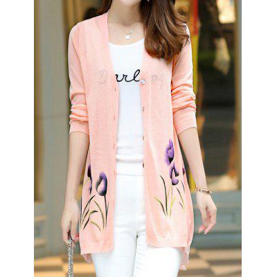 Floral Print Long Sleeve Candy Color Cardigan