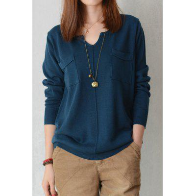 V Neck Double Pockets Long Sleeve Sweater