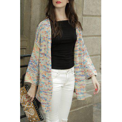 Collarless Colorful Cotton Long Sleeve Cardigan