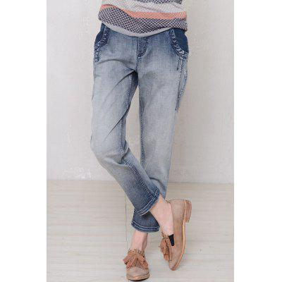 Ombre Color Straight Ankle Jeans