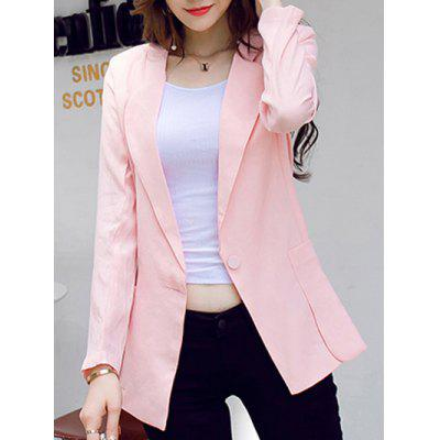 Elegant Single Button Pocket Patchwork Blazer For Women