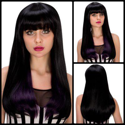 Fashion Long Straight Full Bang Black Mixed Purple Tail Adduction Synthetic Party Wig For Women