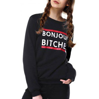 Letter Print Loose Fitting Sweatshirt