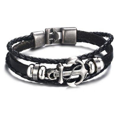Anchor Woven Faux Leather Black Layered Bracelet