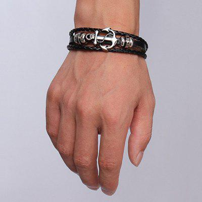 Punk Style Anchor Woven Faux Leather Black Layered Bracelet For MenMens Jewelry<br>Punk Style Anchor Woven Faux Leather Black Layered Bracelet For Men<br><br>Chain Type: Leather Chain<br>Gender: For Men<br>Item Type: Charm Bracelet<br>Material: Leather<br>Metal Type: Silver Plated<br>Package Contents: 1 x Bracelet<br>Shape/Pattern: Anchor<br>Style: Hipster<br>Weight: 0.038kg