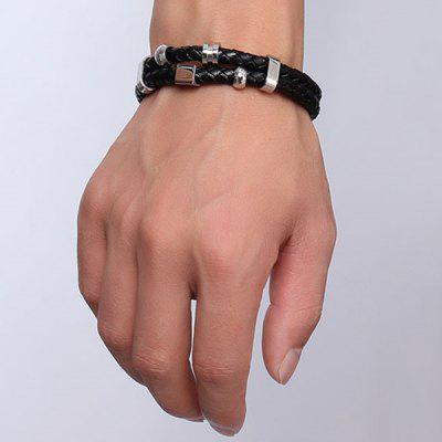 Punk Style Geometric Woven Faux Leather Layered Black Charm Bracelet For MenMens Jewelry<br>Punk Style Geometric Woven Faux Leather Layered Black Charm Bracelet For Men<br><br>Chain Type: Leather Chain<br>Gender: For Men<br>Item Type: Strand Bracelet<br>Material: Leather<br>Metal Type: Silver Plated<br>Package Contents: 1 x Bracelet<br>Shape/Pattern: Geometric<br>Style: Hipster<br>Weight: 0.040kg