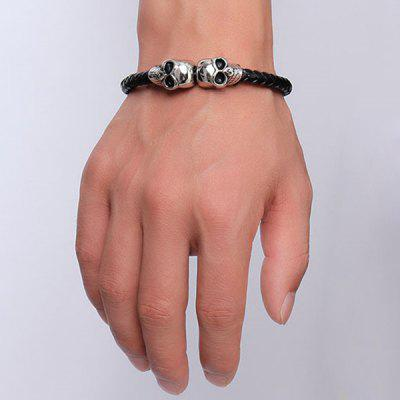Punk Style Black Woven Faux Leather Skulls Bracelet For MenMens Jewelry<br>Punk Style Black Woven Faux Leather Skulls Bracelet For Men<br><br>Chain Type: Others<br>Gender: For Men<br>Item Type: Charm Bracelet<br>Metal Type: Silver Plated<br>Package Contents: 1 x Bracelet<br>Shape/Pattern: Skulls<br>Style: Hipster<br>Weight: 0.060kg