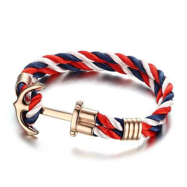 Trendy torção multicolorida Strap banhado a ouro Anchor Bracelet For Men