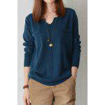 V Neck Double Pockets Long Sleeve Sweater - PEACOCK BLUE