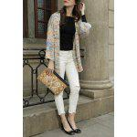Collarless Colorful Cotton Long Sleeve Cardigan deal