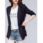 Casual Pure Color Pocket Blazer For Women - BLACK
