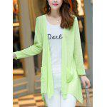 Buy Long Sleeve Candy Color Thin Cardigan M LIGHT GREEN
