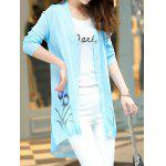Floral Print Long Sleeve Candy Color Cardigan - AZURE