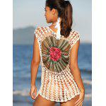 Chic Floral Cut Out Crochet Cover-Up - OFF-WHITE