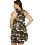 best Plus Size Camouflage Print Sleeveless Dress