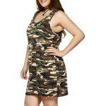 cheap Plus Size Camouflage Print Sleeveless Dress