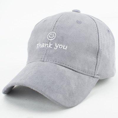 Chic Style Faux Suede Smile Face Letters Embroidery Baseball Cap For Women