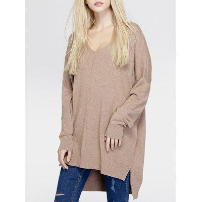 Brief Women's Pure Color Asymmetric Loose Sweater