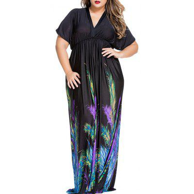 Plus Size Feather Print Maxi Empire Waist Dress