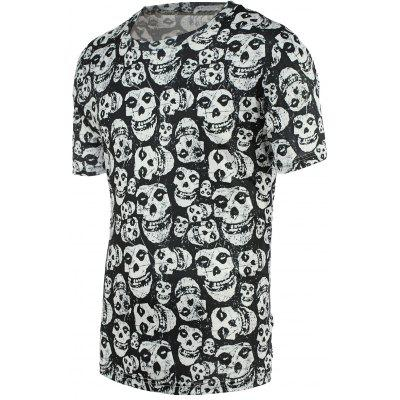 Buy COLORMIX Fashion Tiny Skulls Print Round Neck Short Sleeve Tee For Men for $12.88 in GearBest store