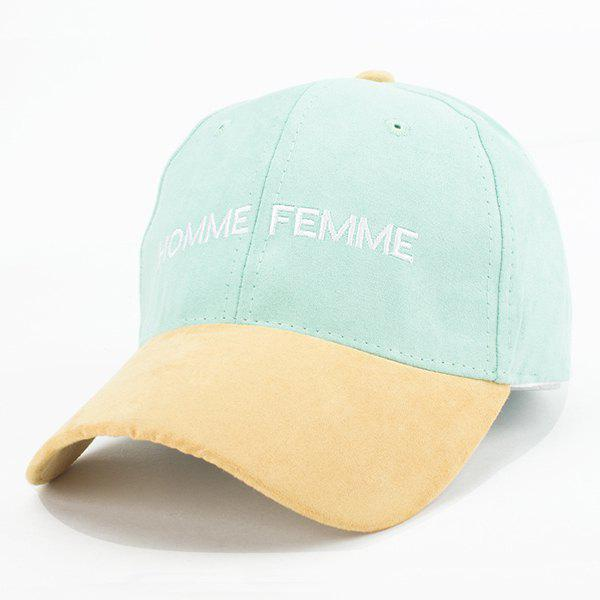Buy Fashion Faux Suede Letters Embroidery Retro Baseball Cap Women MINT GREEN