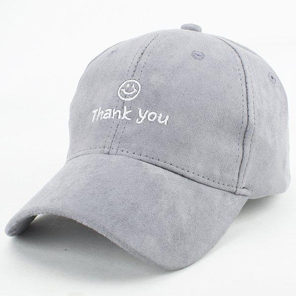 Buy Chic Style Faux Suede Smile Face Letters Embroidery Baseball Cap Women LIGHT GRAY
