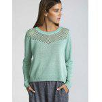 Long Sleeve Hollow Out Pure Color Sweater - GREEN