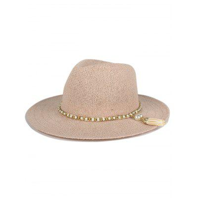 Stylish Faux Pearl Tassel Chain Anti-UV Jazz Sun Hat For Women